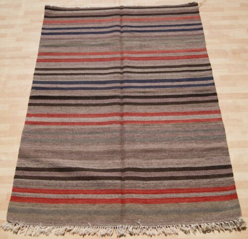 STRIPED TURKISH KILIM RUG GRAY HAND WOVEN RECTANGLE WOOL 20+ AREA RUGS 5X7ft