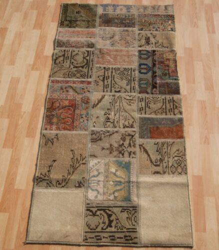 HOME LIVING TURKISH CARPET PATCHWORK RUG RECTANGLE BEIGE 30+ WOOL RUNNERS 3X6ft.