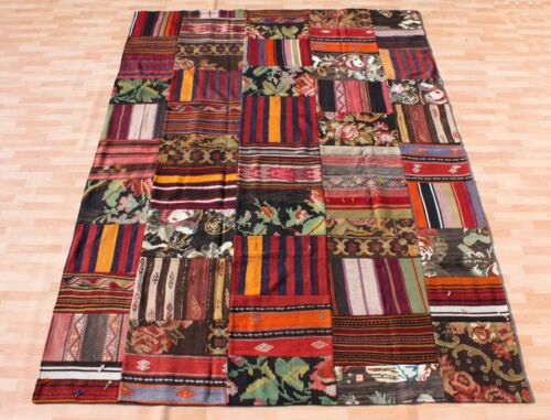 TURKISH KILIM PATCHWORK RUG RECTANGLE MULTI COLORED 30+ WOOL RUNNERS 9X6ft.