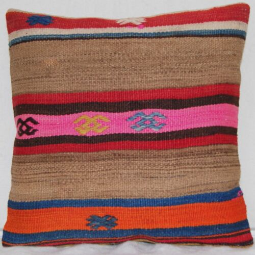 """TURKISH PILLOW COVER STRIPED KILIM RUG WOOL SQUARE HANDMADE AREA RUGS 16""""x16"""""""