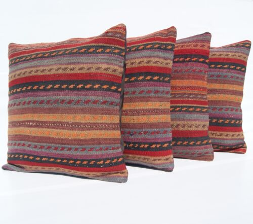"""KURDISH RUG PILLOWS HANDWOVEN SQUARE MULTI COLORED BRAIDED WOOL AREA RUG 18""""X18"""""""