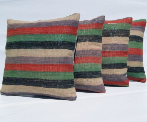 """TURKISH KILIM PILLOW CASE GREEN RUG STRIPED HAND WOVEN SQUARE 16""""X16"""" AREA RUGS"""