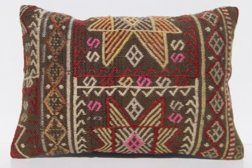 """20""""x14"""" EMBROIDERED PILLOW CASE TURKISH WOOL RECTANGLE HANDWOVEN KILIM AREA RUGS"""