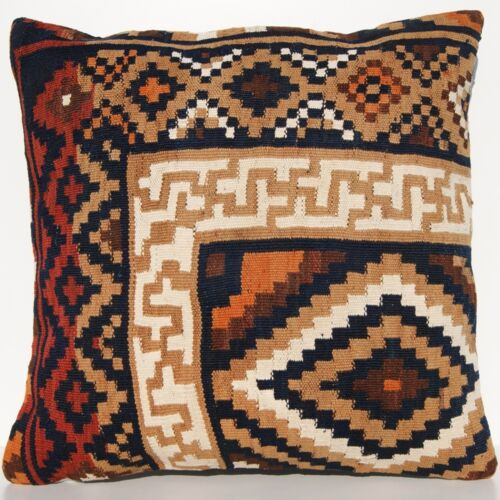 """24""""X24"""" KURDISH KILIM PILLOW COVER HAND WOVEN SQUARE WOOL YELLOW AREA RUGS 30+"""