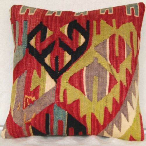 """16""""x16"""" TURKISH KILIM PILLOW COVER WOOL COVER SQUARE HAND WOVEN KELIM AREA RUGS"""