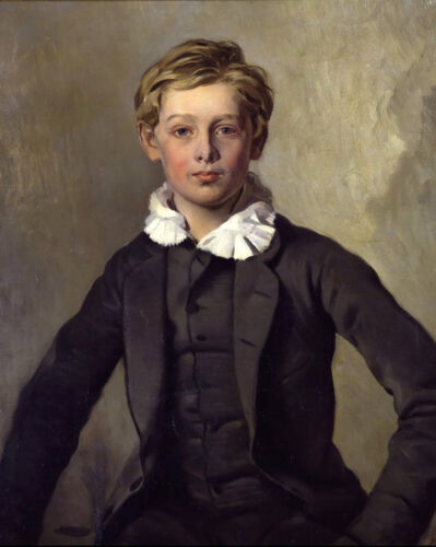 Hand painted in oil Oil painting male portrait Handsome young boy seated canvas