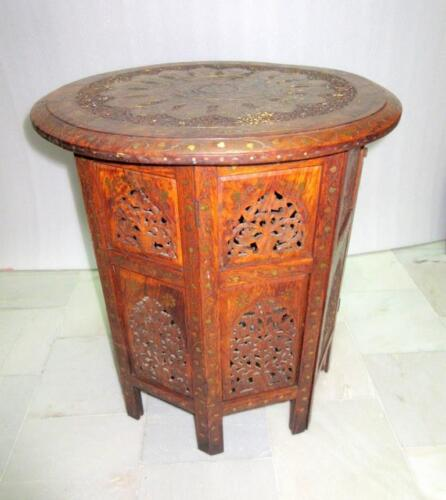 Antique Old Wooden Hand Carved Brass & Copper Work Center/Side Folding Table