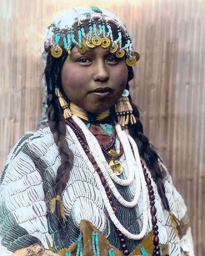 "WISHHAM INDIAN BRIDE 1910 NATIVE AMERICAN INDIAN 8x10"" HAND COLOR TINTED PHOTO"