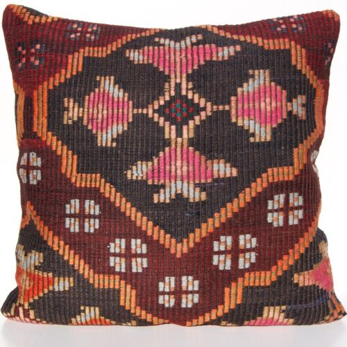 """28""""X28"""" TURKISH KILIM PILLOW COVER HAND WOVEN BROWN SQUARE WOOL AREA RUGS 30+"""