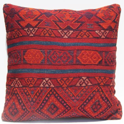 """24""""X24"""" EMBROIDERED KILIM PILLOW COVER KURDISH SQUARE WOOL HAND WOVEN AREA RUGS"""