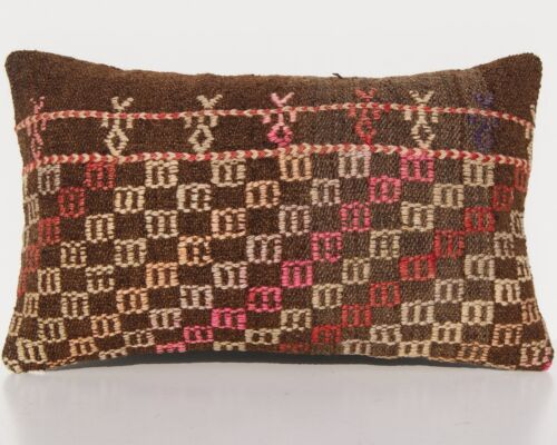 """EMBROIDERED PILLOW TURKISH WOOL RECTANGLE HAND WOVEN SAME OLD AREA RUGS 20""""x12"""""""