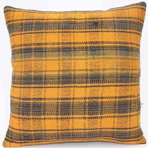 """16""""x16"""" YELLOW KILIM PILLOW COVER TURKISH WOOL SQUARE HAND WOVEN AREA RUG 20+"""