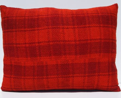 """24""""x18"""" HOME LIVING PILLOW WOOL RECTANGLE HAND WOVEN TURKISH RED AREA RUG 20+"""
