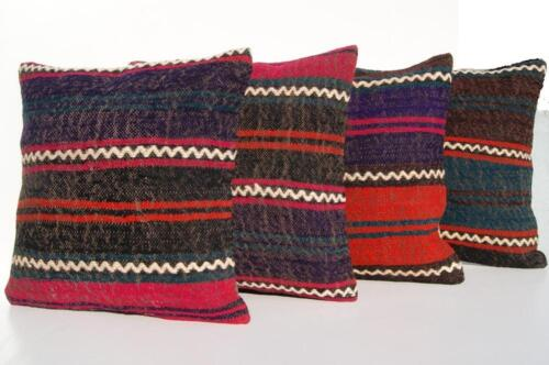 """TURKISH PILLOW COVER RUG HAND WOVEN SQUARE MULTI COLORED WOOL AREA RUGS 16""""X16"""""""