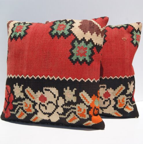 """HOME DECORATIVE PILLOWS HAND WOVEN RED YUGOSLAVIAN 18"""" SQUARE WOOL AREA RUGS 30+"""