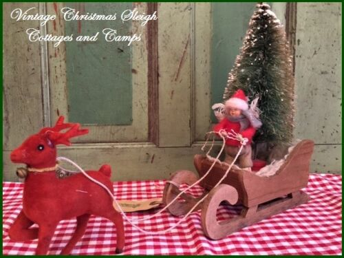Santa's Wood Sleigh / Child & Antique Bottlebrush Tree Vtg Red Flocked Reindeer