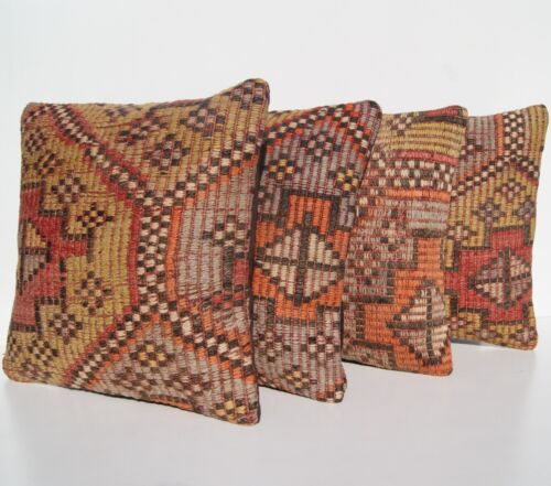 """EMBROIDERED PILLOW YELLOW TURKISH KELIM RUG HAND WOVEN SQUARE AREA RUGS 14""""X14"""""""