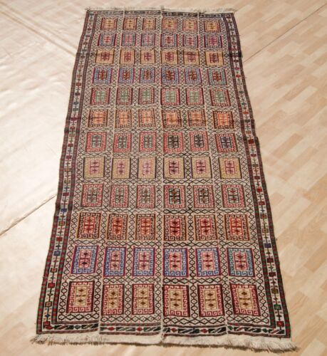 BOX PATTERN KILIM RUG PERSIAN MULTI COLORED RECTANGLE WOOL 30+ AREA RUGS 4X9ft