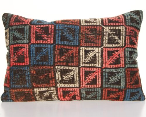"""HOME DESIGN PILLOW TURKISH WOOL 24x16"""" RECTANGLE HANDWOVEN OLD KILIM AREA RUGS"""