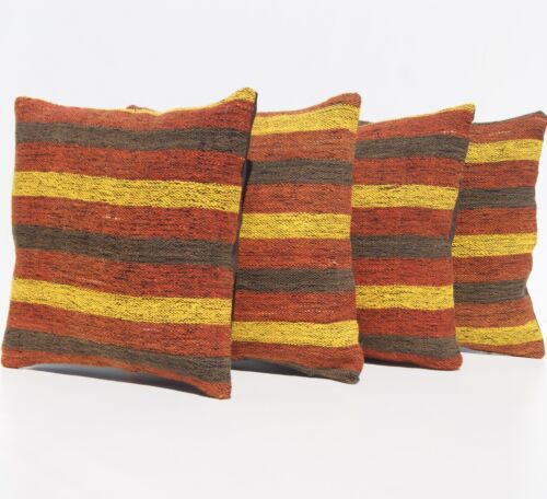 """ANTIQUE PILLOW SHAM TURKISH SQUARE 20+ HAND WOVEN YELLOW KILIM AREA RUGS 12""""X12"""""""