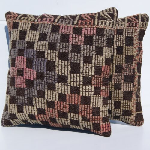 """EMBROIDERED PILLOW COVERS TURKISH KELIM RUG HAND WOVEN SQUARE AREA RUGS 14""""X14"""""""
