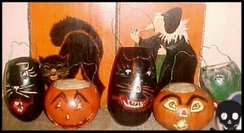 Lot of 5 Jack-O-Lantern Gourds Dried Natural Painted Black Cats & Halloween JOL