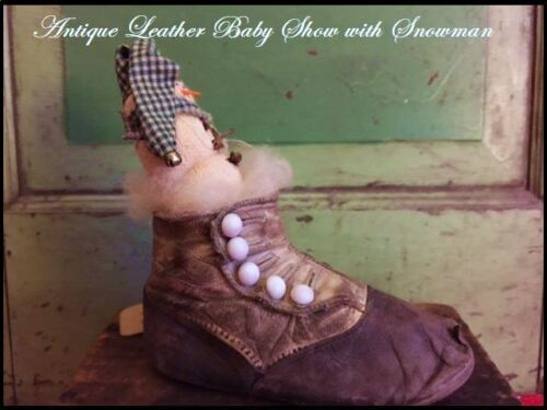 Antique vtg Button-up Leather Baby Shoe with Primitive Christmas Snowman
