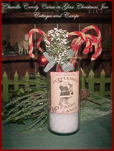 Glass Jar Vtg Xmas Decor & Primitive Chenille Candy canes Label & Sleigh Bell