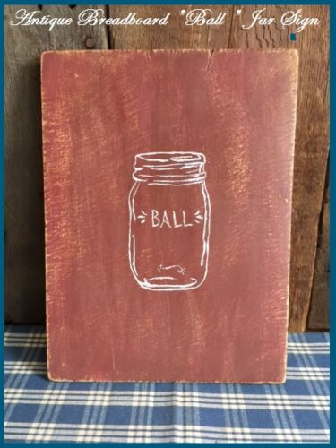"""Antique Primitive Wood Bread Board Barn Red Paint with paint of a  """"Ball Jar"""""""