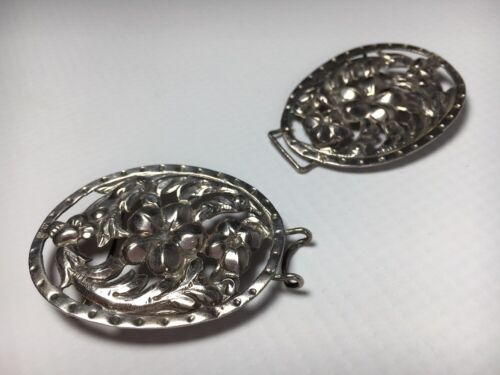 George Unite Antique Victorian 1901 Sterling Silver Birmingham Belt Buckle