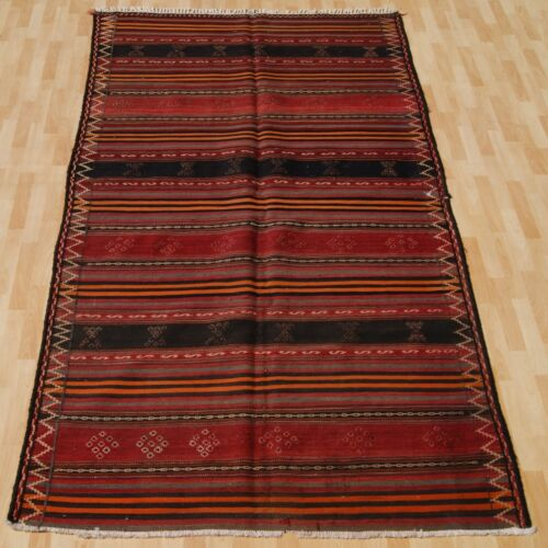 VINTAGE RUG PERSIAN KILIM RUG HAND WOVEN SQUARE WOOL 30+ RED AREA RUGS 5X9ft
