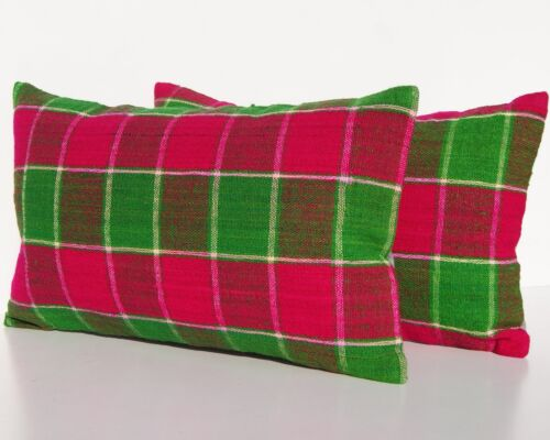 """PLAID RUG PILLOW COVER TURKISH WOOL RECTANGLE HAND WOVEN TWO AREA RUGS 20""""x12"""""""