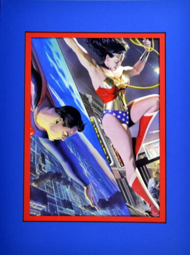 SUPERMAN & WONDER WOMAN COLLAGE PRINT PROFESSIONALLY MATTED Alex Ross art