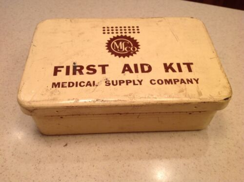 MS Co First Aid Kit Box Metal W/ Contents Medical Supply Company  Beige