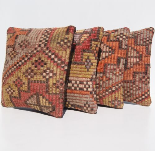 """EMBROIDERED PILLOW CASES TURKISH MULTI COLORED KILIM SQUARE AREA RUGS 12""""X12"""""""