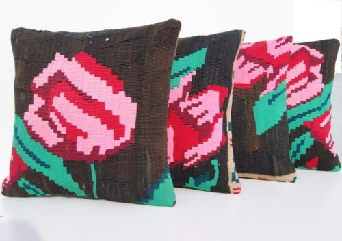 """HOME LIVING PILLOW COVER HAND WOVEN TURKISH SQUARE BLACK WOOL AREA RUGS 16""""X16"""""""
