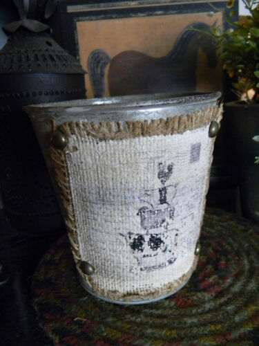 Galvanized Bucket Container Burlap Animal Design Primitive Vintage Look Country