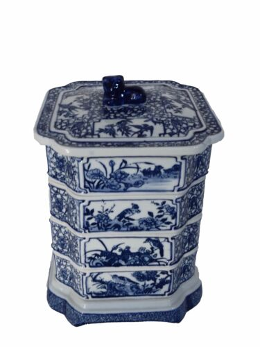 "Chinese Blue and White  Set Of Boxes 9"" h"