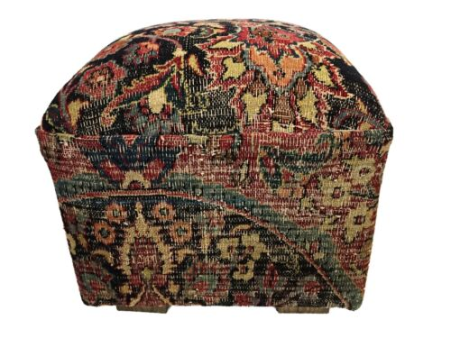 "Square Ottoman W/ Antique Tribal Bakhtiari  Rug 18"" L x 18"" W x 18"" H"