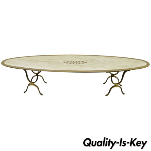 Italian Hollywood Regency Travertine & Brass Long Oval Surfboard Coffee Table
