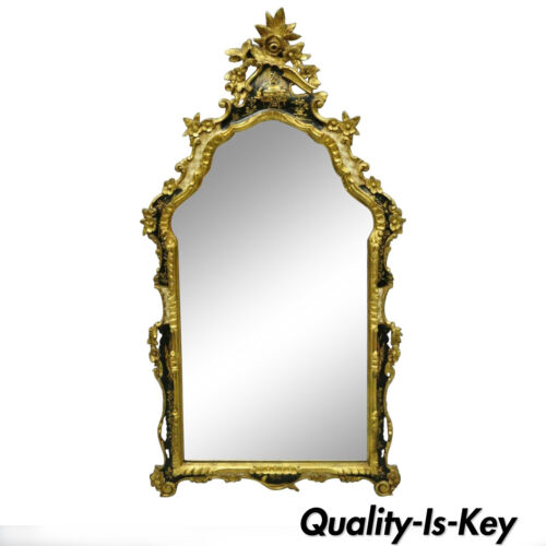 Vintage Italian Gold Gilt Wood Chinoiserie Japanned Rococo Console Wall Mirror