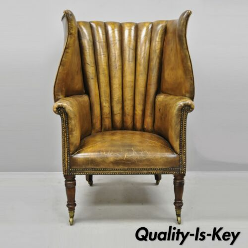 19th C. Howard & Sons English Brown Leather Channel Back Wingback Library Chair
