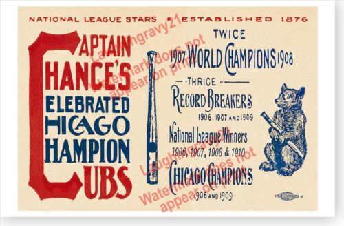 Chances Celebrated Champion Chicago Cubs Retro 1911 Antique Baseball Poster