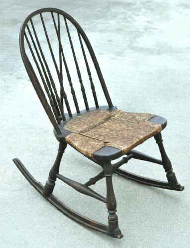 Antique Wooden Nursing Rocking Chair w/ Wicker Seat & Spindles Back