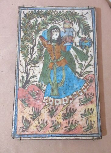 LARGE antique 1700's handmade Middle Eastern pottery figural lady tile painting