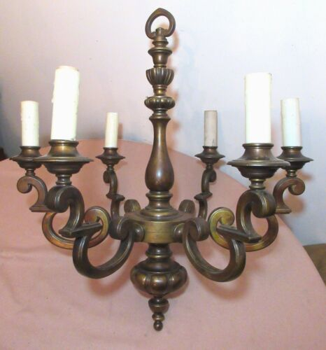 large English 1900 antique 6 arm Georgian style bronze electric chandelier lamp
