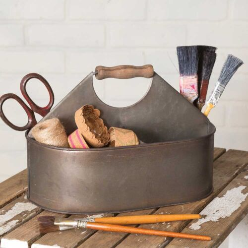 Antiqued Metal Craft Room or Desk Bucket Caddy Farmhouse Primitive Country