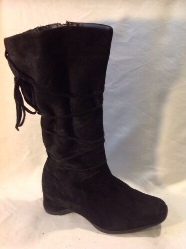 Essence Black Mid Calf Suede Boots Size 6