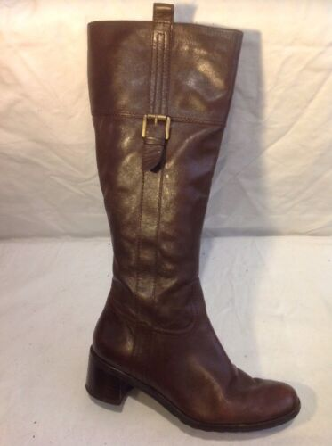 Easy Spirit Brown Knee High Leather Boots Size 5W (U.K. Size 3)