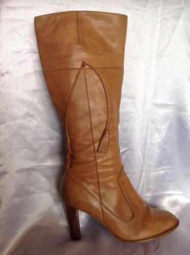 Wallis Brown Knee High Leather Boots Size 38